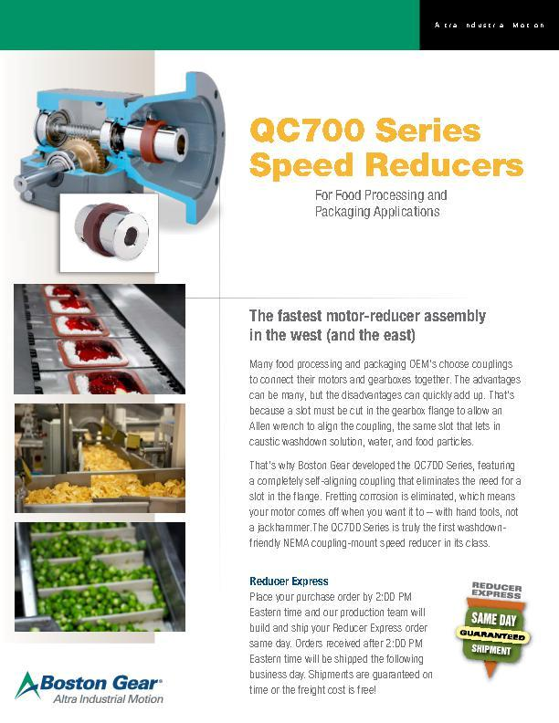 QC700 Series Speed Reducers for Food Applications