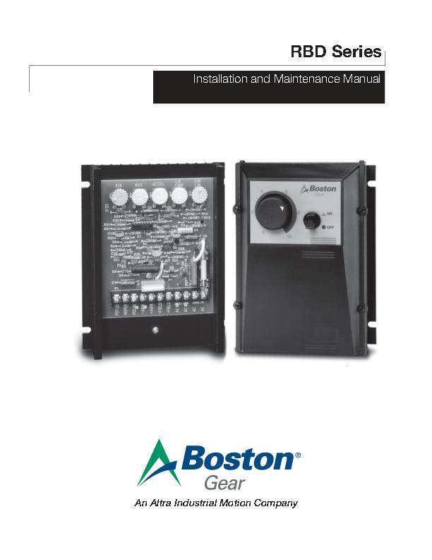 RBD Series Install & Maintenance Manual